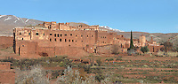 Kasbah of the Glaoua family, Telouet, High Atlas, Morocco. The fortress was begun in the 19th century as the residence Thami el Glaoui, 1879-1956, who was Pasha of Marrakech 1912-56. It sits at 1800m in the Atlas mountains on an ancient caravan route from the Sahara to Marrakech. Picture by Manuel Cohen