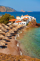 Vlychos Village & beach, Hydra,  Greek Saronic Islands.