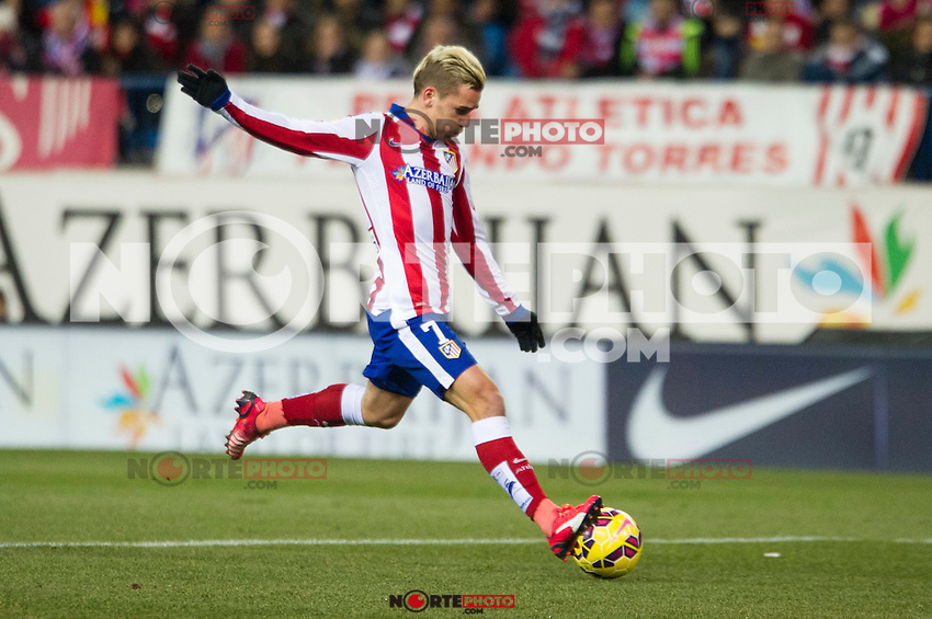 Atletico de Madrid&acute;s Antoine Griezmann during 2014-15 La Liga match between Atletico de Madrid and Rayo Vallecano at Vicente Calderon stadium in Madrid, Spain. January 24, 2015. (ALTERPHOTOS/Luis Fernandez) /NortePhoto<br />