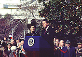 "Washington, DC - (FILE) -- United States President Ronald Reagan makes remarks as he welcomes Prime Minister Margaret Thatcher of Great Britain for her first official visit of his presidency on the South Lawn of the White House in Washington, D.C. on Thursday, February 26, 1981..Credit: Benjamin E. ""Gene"" Forte - CNP"