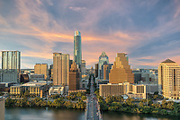 This is another aerial image of down Congress Ave in Austin Texas as the sunset with the some nice color clouds in the sky.  You can see the high rise buildings along the water front with the Texas capital dwarfed in the background.