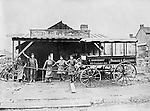 Product &amp; Service: Selling and repairing horse drawn wagons<br /> <br /> Pittsburgh PA:  Mayer Brother's wagon repair shop in Pittsburgh - 1900s.  A Produce &amp; Groceries wagon from L Barckhoff.