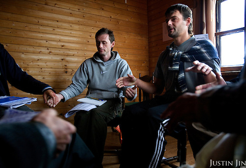 "Recovering alcoholics attend group therapy at the ""House of Hope on a Hill"" in a village outside St. Petersburg, Russia. .The centre, started by American Lou Bantle, treats alcoholics from all over Russia for free. .Alcoholism is a main cause of death in Russia."