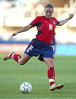 August 11th, 2004:  Abby Wambach in action against Greece at Pankritio Stadium in Heraklio, Greece.  Wambach scored a goal in the game.  USA defeated Greece, 3-1..Credit: Michael Pimentel / ISI