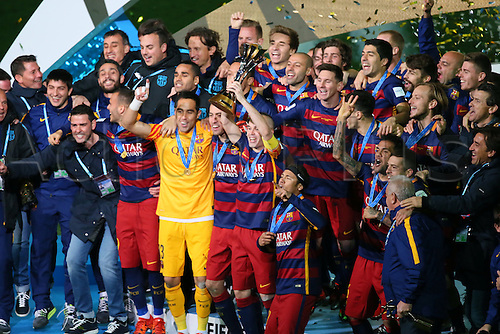 20.12.2015. Yokohama Stadium, Kanagawa, Japan, FIFA Club world cup final. FC Barcelona versus River Plate.  FC Barcelona team  celebrate with the winners trophy after winning the final by a score of 3-0