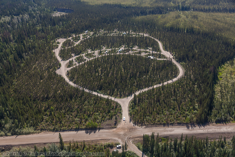 Aerial of Marion Creek Campground in Alaska's Arctic