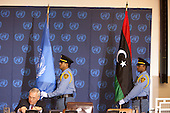 The new Libyan flag placed at the United Nations in New York for the first time prior to a meeting of the Libya Contact Group on Tuesday, September 20, 2011..Credit: Allan Tannenbaum / Pool via CNP