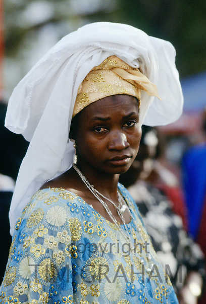Woman wearing traditional clothing, The Gambia, Africa