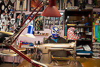 Wrestling costume and mask designer Mascaras Eduardo Sanchez at his workshop in Cuidad Juarez. Sanchez also creates masks in El Paso.....