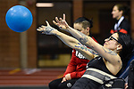 MONTREAL, QC - APRIL 29:  A participant takes part in a ball throwing exercise during the 2017 Montreal Paralympian Search at Complexe sportif Claude-Robillard. Photo: Minas Panagiotakis/Canadian Paralympic Committee