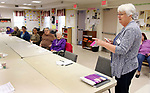 WATERBURY CT. 25 April 2017-042517SV01-Bobbi Kulas runs a Jeopardy game at the Willow/Plaza NRZ Community Center in Waterbury Tuesday.<br /> Steven Valenti Republican-American