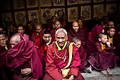 "Busshist monks gather to witness dancers perform at the Hemis Monastery (gompa) of the Drukpa Lineage, located in Hemis, 45 kms away from Leh in Ladakh. ..His Holiness the Twelfth Gyalwang Drukpa, the head of the Drukpa Lineage (proponents of the Mahayana Buddhist tradition) ended his ""Walking On The World's Rooftop"" Pad Yatra from Manali to Hemis Monestary in Ladakh."