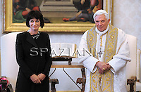 Benedict XVI (L) and Swiss Conferderation President Doris Leuthard (R) are seen during their meeting at The Vatican, 06 May 2010