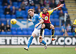 St Johnstone v Partick Thistle&hellip;29.10.16..  McDiarmid Park   SPFL<br />Liam Craig battles with Ryan Edwards<br />Picture by Graeme Hart.<br />Copyright Perthshire Picture Agency<br />Tel: 01738 623350  Mobile: 07990 594431