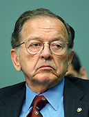 """Washington, D.C. - June 24, 2003 -- Ted Stevens (Republican of Alaska), United States Senate President Pro-Tempore listens to testimony before the United States Senate Commerce, Science, and Transportation Committee on """"Reform of the United States Olympic Committee (USOC) in Washington, DC on June 24, 2003.  Senator Stevens was indicted on Tuesday, July 29, 2008 on seven counts of failing to report as income gifts he received including renovations on his home. .Credit: Ron Sachs / CNP"""