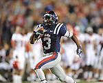 Ole Miss running back Jeff Scott (3) runs the ball 55 yards for a touchdown at Vaught-Hemingway Stadium in Oxford, Miss. on Saturday, September 25, 2010. Ole Miss won 55-38 over Fresno State.