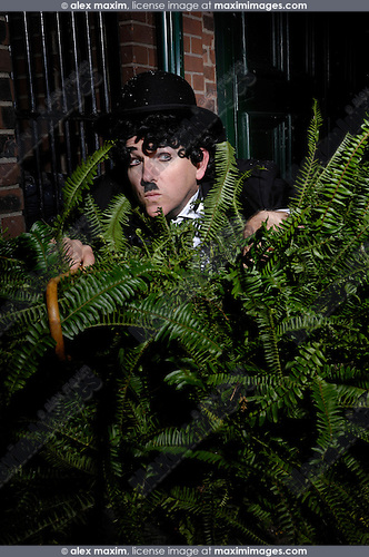 Charlie Chaplin mime Private detective hiding behind a bush spying on someone. Artistic humorous concept. Performing artist Peter Jarvis.