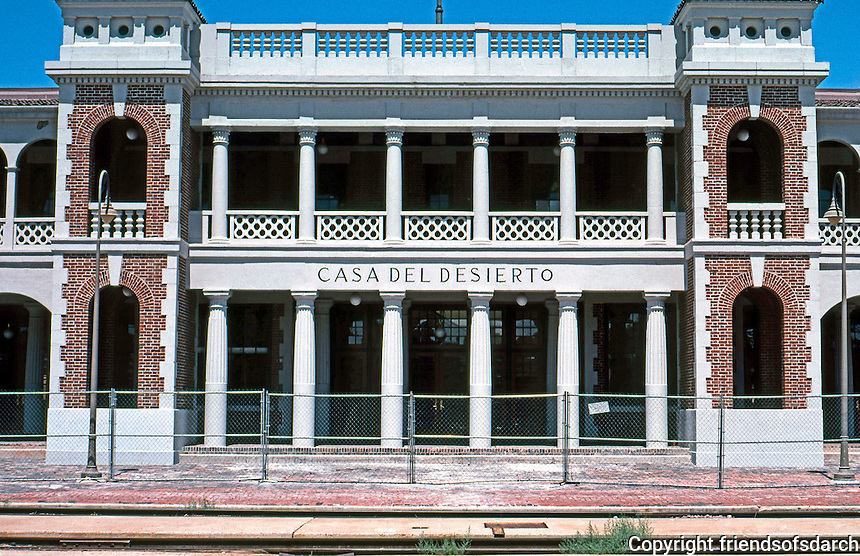 Barstow CA: Santa Fe Depot, frontal elevation.  &quot;Casa del Desierto&quot;, Mary Colter, 1911.<br /> Photo '99.