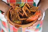 """France/DOM/Martinique/Grand-Rivière : Arlette présente  sa Marmite du pécheur ,langouste , écrevisses  , Crabe et   Poisson - Restaurant """"Chez Tante Arlette""""Restaurant """"Chez Tante Arlette"""""""