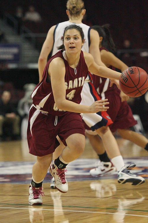 LAS VEGAS, NV - MARCH 7:  Rhianna Faithfull during the Gonzaga Bulldogs 87-47 win over the Santa Clara Broncos game in the WCC Basketball Tournament on March 7, 2010 at Orleans Arena in Las Vegas Nevada.