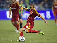 Chris Wingert of Real Salt Lake takes a shot on goal during play against the Seattle Sounders FC at CenturyLink Field in Seattle Friday September 13, 2013. The Sounders won the match 2-0.