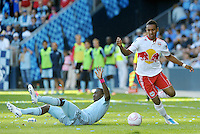 Red Bulls Juan Agudelo (17) goes past Julio Cesar...Sporting Kansas City defeated New York Red Bulls 2-0 at LIVESTRONG Sporting Park, Kansas City, Kansas.