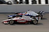 11 September, 2005, Joliet,IL,USA<br /> Scott Dixon (10) and Ed Carpenter.<br /> Copyright&copy;F.Peirce Williams 2005