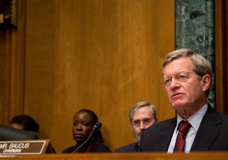 WASHINGTON, DC - September 15: Chairman of the Senate Finance Committee, Sen. Max Baucus, D-Mont., at a committee hearing on the extension of unemployment insurance.  (Photo by Ryan Kelly/Congressional Quarterly)