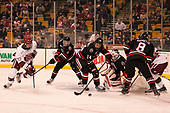 Lewis Zerter-Gossage (Harvard - 77), Ryan Shea (NU - 5), Garret Cockerill (NU - 14), Ryan Ruck (NU - 41), Adam Gaudette (NU - 8) - The Harvard University Crimson defeated the Northeastern University Huskies 4-3 in the opening game of the 2017 Beanpot on Monday, February 6, 2017, at TD Garden in Boston, Massachusetts.