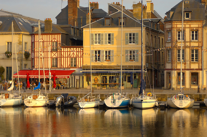 harbour scene with yaughts. Honfleur, Normandy, France.