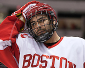 Ryan Santana (BU - 15) - The Boston University Terriers defeated the visiting Northeastern University Huskies 5-0 on senior night Saturday, March 9, 2013, at Agganis Arena in Boston, Massachusetts.