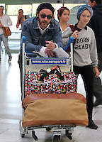 Jude Law with his daughter Iris and friend and his parents, departing from Nice airport - France