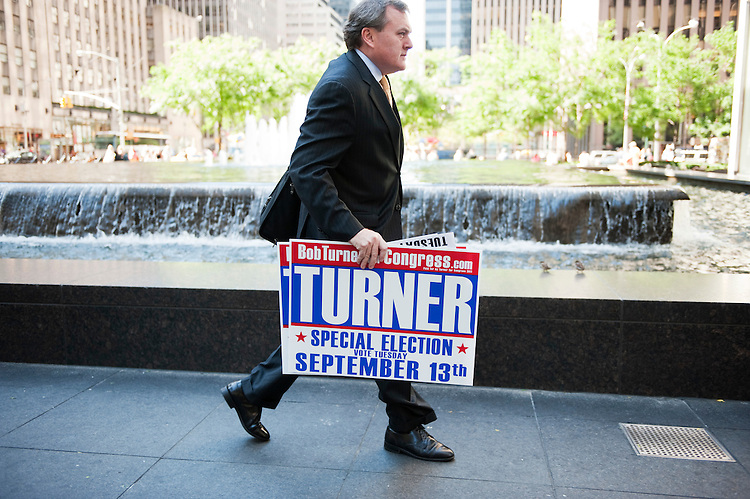 UNITED STATES - AUGUST 29:  Bob O'Brien, campaign manager for Bob Turner, republican candidate for the seat of New York's 9th congressional district, heads to a meeting in Manhattan with Turner and Rudolph Giuliani.  The special election will be held on September 13, 2011, to fill the seat vacated by former congressman Anthony Weiner.  (Photo By Tom Williams/Roll Call)