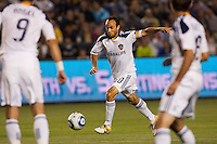 Landon Donovan (10) of the LA Galaxy with a scoring attempt. The LA Galaxy and Red Bulls of New York played to a 1-1 tie at Home Depot Center stadium in Carson, California on  May 7, 2011....