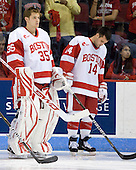 Grant Rollheiser (BU - 35), Andrew Glass (BU - 14) - The Boston University Terriers defeated the visiting University of Toronto Varsity Blues 9-3 on Saturday, October 2, 2010, at Agganis Arena in Boston, MA.