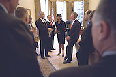 United States President George W. Bush listens to U.S. Secretary of State Colin Powell during a National Security Counsel (NSC) briefing in the Oval Office of the White House in Washington, D.C. on Wednesday, February 13, 2002.  From left to right: Secretary Powell; White House Chief of Staff Andrew Card; National Security Advisor Dr. Condoleezza Rice; the President; and White House Press Secretary Ari Fleischer..Mandatory Credit: Eric Draper - White House via CNP.