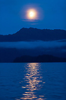 Moonrise over Knight Island, Prince William Sound, Chugach National Forest, southcentral, Alaska.