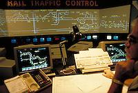 Operators monitoring rail traffic in Houston area via computerized projection system. Houston Texas USA Union Station - Houston Belt and Terminal.
