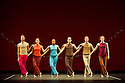 London, UK. 28.11.2013. Mark Morris Dance Group in EXCURSIONS, from Programme B, at Sadler's Wells. Dancers are: Rita Donahue, Laurel Lynch, Dalla McMurray, Billy Smith, Noah Vinson, Michelle Yard. Costume design is by Katherine M. Patterson and lighting design by Nicole Pearce. Photograph © Jane Hobson.