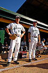 12 July 2007: Vermont Lake Monsters outfielder Aaron Seuss (left) and infielder Bill Rhinehart (right) await the start of play prior to a game against the Mahoning Valley Scrappers at Historic Centennial Field in Burlington, Vermont. The Scrappers defeated the Lake Monsters 11-2 in the first game of their NY Penn-League double-header...Mandatory Photo Credit: Ed Wolfstein Photo