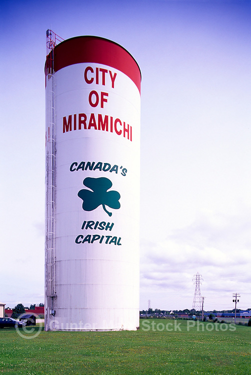 Miramichi, NB, New Brunswick, Canada - Water Tower identifying City of Miramichi as Canada's Irish Capital