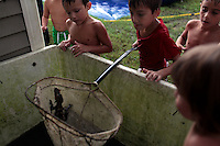Morgan Serigne, 6, shows his friends baby alligators during a birthday party in St Bernard on August 29, 2010.