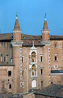 Urbino:  Ducal Palace from west. 1444-1482.  Photo '83.