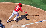 23 August 2015: Washington Nationals shortstop Ian Desmond in action against the Milwaukee Brewers at Nationals Park in Washington, DC. The Nationals defeated the Brewers 9-5 in the third game of their 3-game weekend series. Mandatory Credit: Ed Wolfstein Photo *** RAW (NEF) Image File Available ***