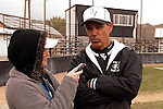Vale coach Rick Yraguen is  interviewed by Argus Observer photojournalist Sheri Bandelean following Vale's 8-3 win over New Plymouth on April 28, 2011.