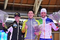 SCHAATSEN: BERLIJN: Sportforum, 08-12-2013, Essent ISU World Cup, podium 500m Men Division A, Joji Kato (JPN), Tae-Bum Mo (KOR), Michel Mulder (NED), ©foto Martin de Jong