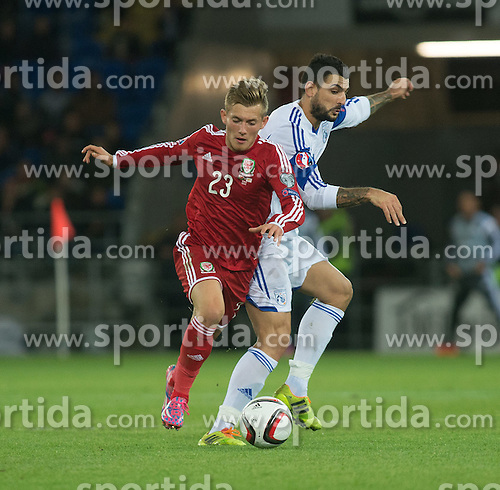 13.10.2014, City Stadium, Cardiff, WAL, UEFA Euro Qualifikation, Wales vs Zypern, Gruppe B, im Bild Wales George Williams in action against Cyprus // 15054000 during the UEFA EURO 2016 Qualifier group B match between Wales and Cyprus at the City Stadium in Cardiff, Wales on 2014/10/13. EXPA Pictures &copy; 2014, PhotoCredit: EXPA/ Propagandaphoto/ Ian Cook<br /> <br /> *****ATTENTION - OUT of ENG, GBR*****