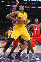 02/22/11 Los Angeles, CA:Los Angeles Lakers center Andrew Bynum #17 during an NBA game between the Los Angeles Lakers and the Atlanta Hawks at the Staples Center. The Lakers defeated the Hawks 104-80.