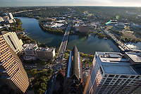 Beautiful and clear day in Austin with a birds Eye view of the Austin Skyline including Lady Bird Lake and the Congress Ave. and South 1st Street Bridge, the two major arteries into the downtown business district.