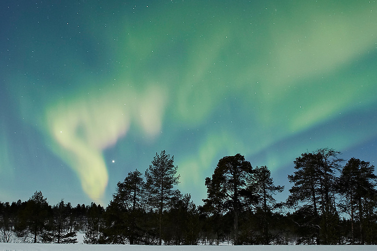 Northern Lights or Aurora borealis display in northern Finland